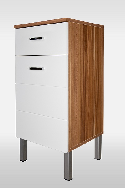 badkommode kommode badm bel hochschrank b021 nussbaum weiss hochglanz ebay. Black Bedroom Furniture Sets. Home Design Ideas