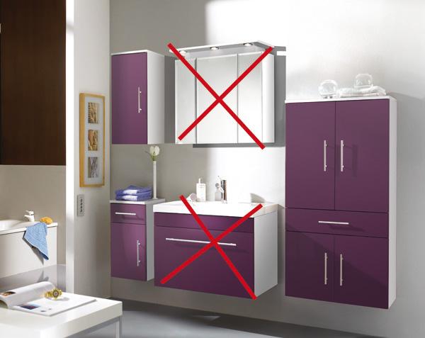 3tlg badm belset hochschrank h ngeschrank kommode mod ke867 lila wei hochglanz ebay. Black Bedroom Furniture Sets. Home Design Ideas