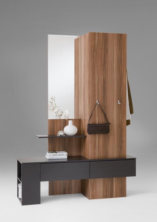 garderobe schrank schubladen g117 nussbaum weiss ebay. Black Bedroom Furniture Sets. Home Design Ideas