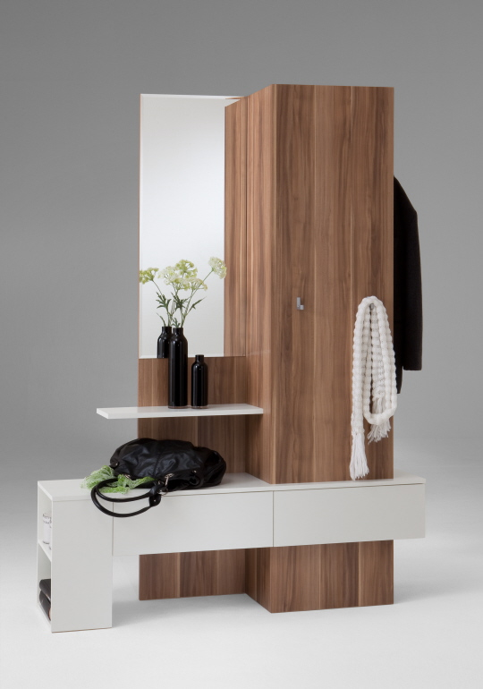 garderobe schrank schubladen g117 nussbaum weiss ebay. Black Bedroom Furniture Sets. Home Design Ideas