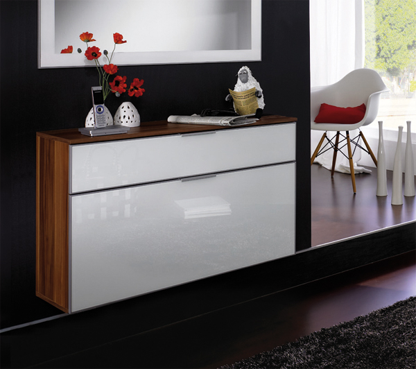 schuhschrank schuhkipper metallschuhkorb mod s552 nussbaum walnuss weiss glas ebay. Black Bedroom Furniture Sets. Home Design Ideas
