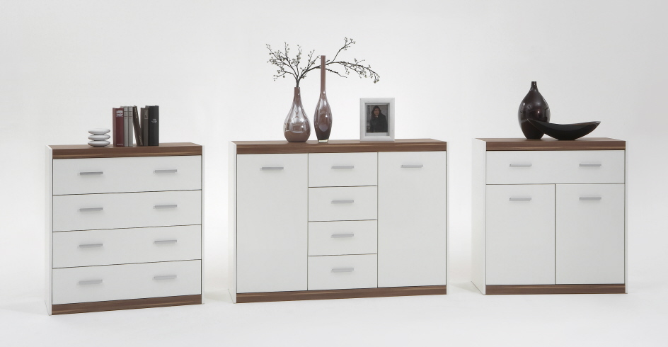 kommode sideboard schrank mod laura weiss nussbaum ebay. Black Bedroom Furniture Sets. Home Design Ideas
