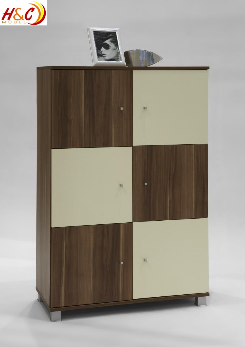 Kommode highboard schrank mod k267 nussbaum elfenbein ebay for Kommode highboard