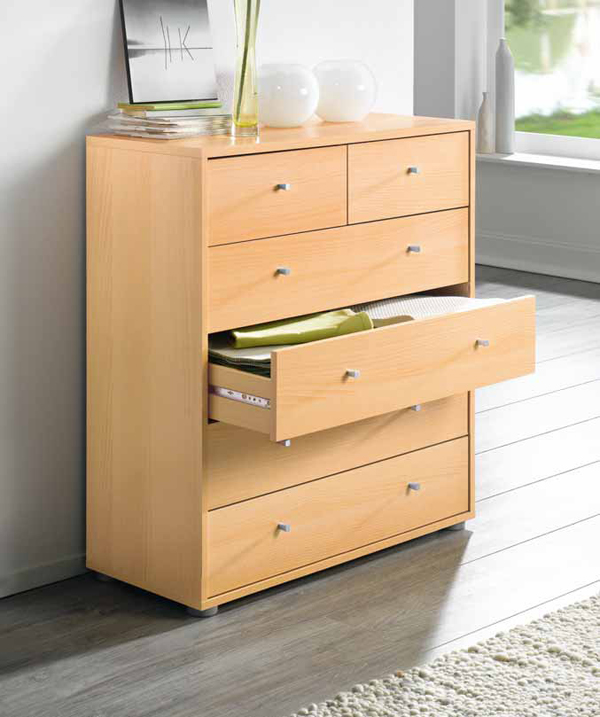 kommode highboard schrank mit 6 schubladen mod k402 buche ebay. Black Bedroom Furniture Sets. Home Design Ideas