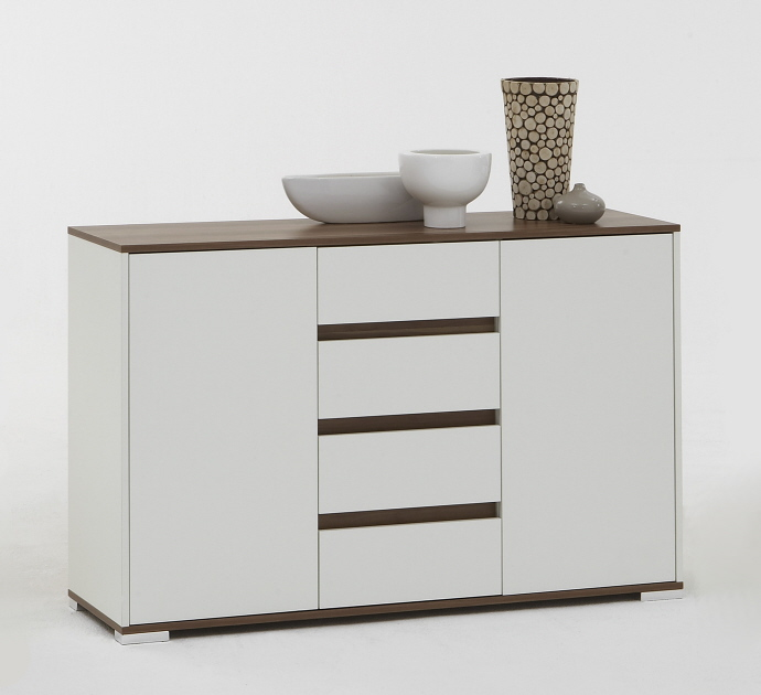 kommode sideboard aktenschrank mod k323 weiss nussbaum ebay. Black Bedroom Furniture Sets. Home Design Ideas