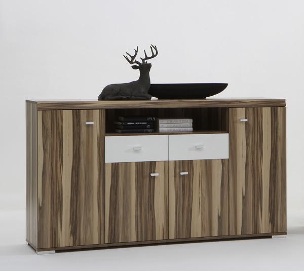 vitrine sammlervitrine glasvitrine highboard mod v732 baltimore nuss weiss ebay. Black Bedroom Furniture Sets. Home Design Ideas