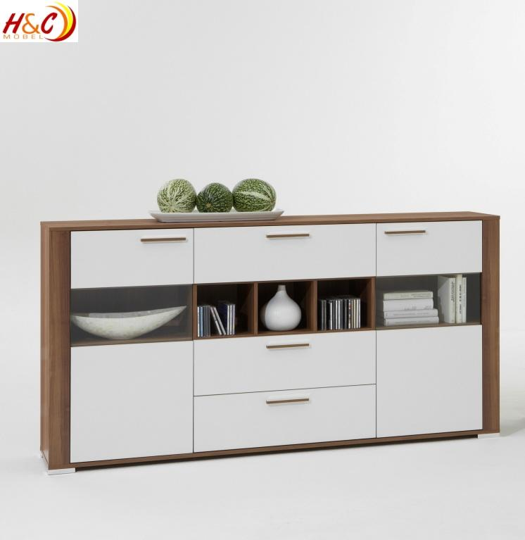 highboard vitrine schrank aktenschrank mod v727 nussbaum weiss ebay. Black Bedroom Furniture Sets. Home Design Ideas