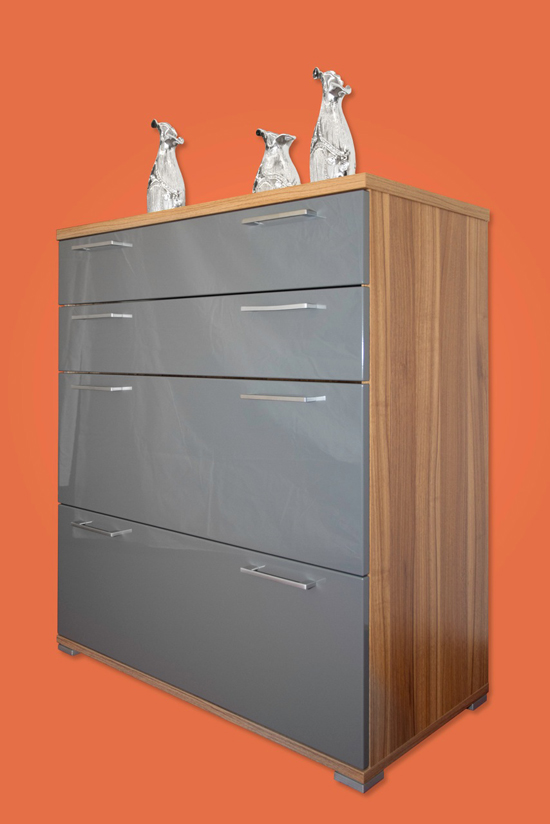 kommode highboard schrank mit 4 schubladen mod k468 walnuss nussbaum anthrazit ebay. Black Bedroom Furniture Sets. Home Design Ideas