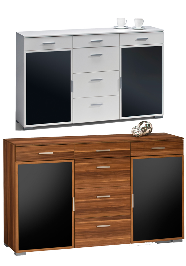 sideboard aktenschrank kommode anrichte schrank mod k515 nussbaum wei schwarz ebay. Black Bedroom Furniture Sets. Home Design Ideas