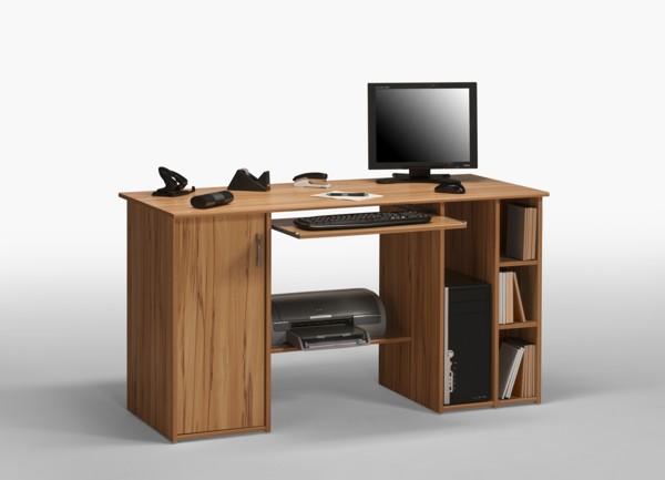 computertisch schreibtisch tisch pc workstation mod t978 nussbaum weiss ebay. Black Bedroom Furniture Sets. Home Design Ideas