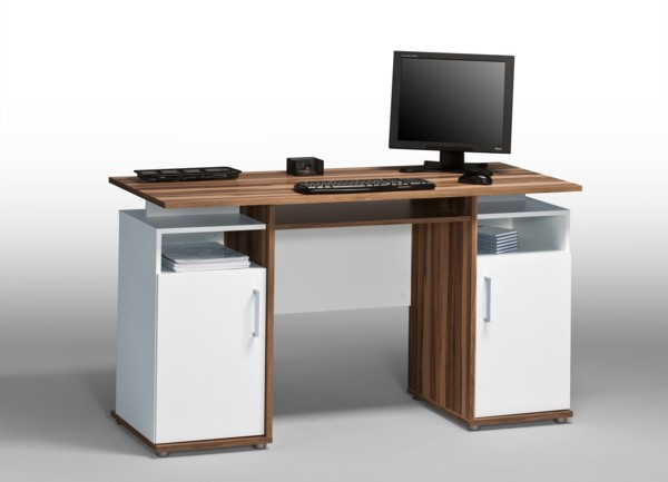 computertisch schreibtisch tisch workstation mod t980 baltimore nussbaum weiss ebay. Black Bedroom Furniture Sets. Home Design Ideas