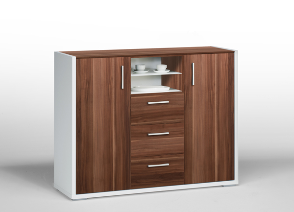 kommode aktenschrank schrank sideboard mod k394 weiss nussbaum ebay. Black Bedroom Furniture Sets. Home Design Ideas