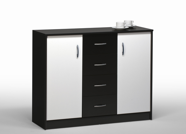 kommode aktenschrank schrank sideboard mod k389 weiss schwarz ebay. Black Bedroom Furniture Sets. Home Design Ideas