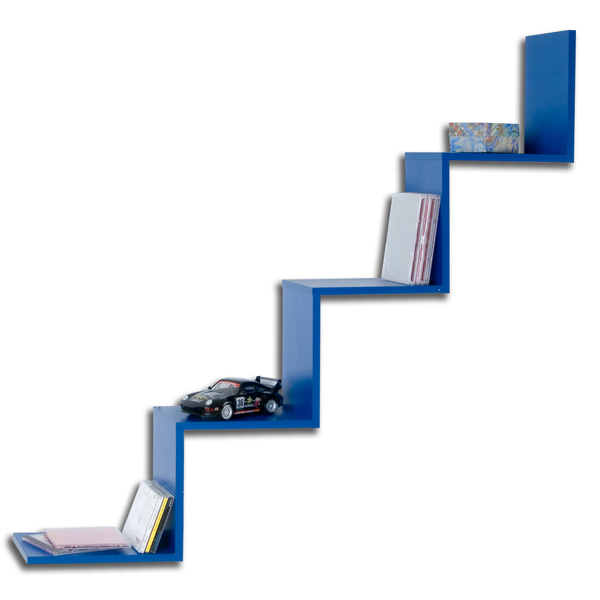 stufenregal wandregal b cherregal regal mod r450 blau. Black Bedroom Furniture Sets. Home Design Ideas