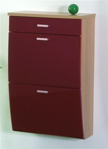 h ngeschrank schuhschrank schuhe schrank mod kale buche rot mdf hochglanz ebay. Black Bedroom Furniture Sets. Home Design Ideas