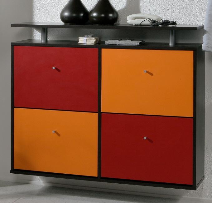 2tlg garderobenset schuhschrank mod ke838 mocca rot geseke. Black Bedroom Furniture Sets. Home Design Ideas