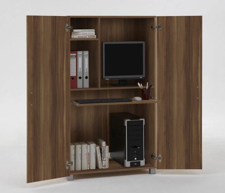 pc workstation computerschrank schrank t930 nussbaum ebay. Black Bedroom Furniture Sets. Home Design Ideas
