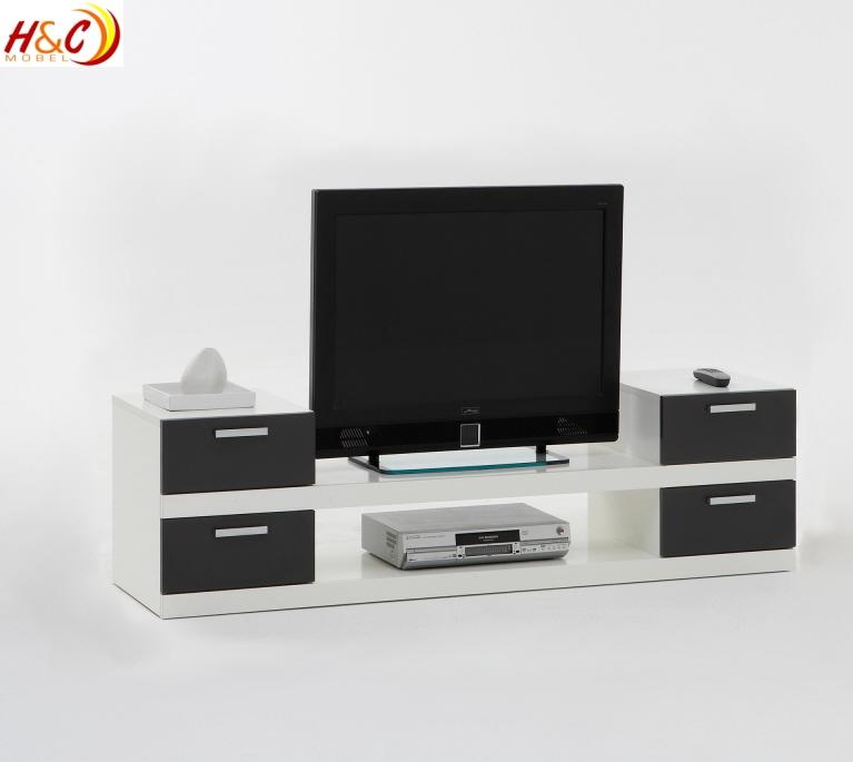 tv ablage hifi regal lowboard mod tv624 weiss anthrazit. Black Bedroom Furniture Sets. Home Design Ideas