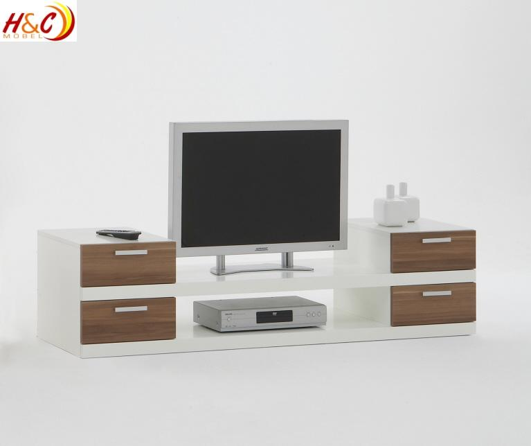 tv ablage hifi regal lowboard mod tv624 weiss nussbaum ebay. Black Bedroom Furniture Sets. Home Design Ideas