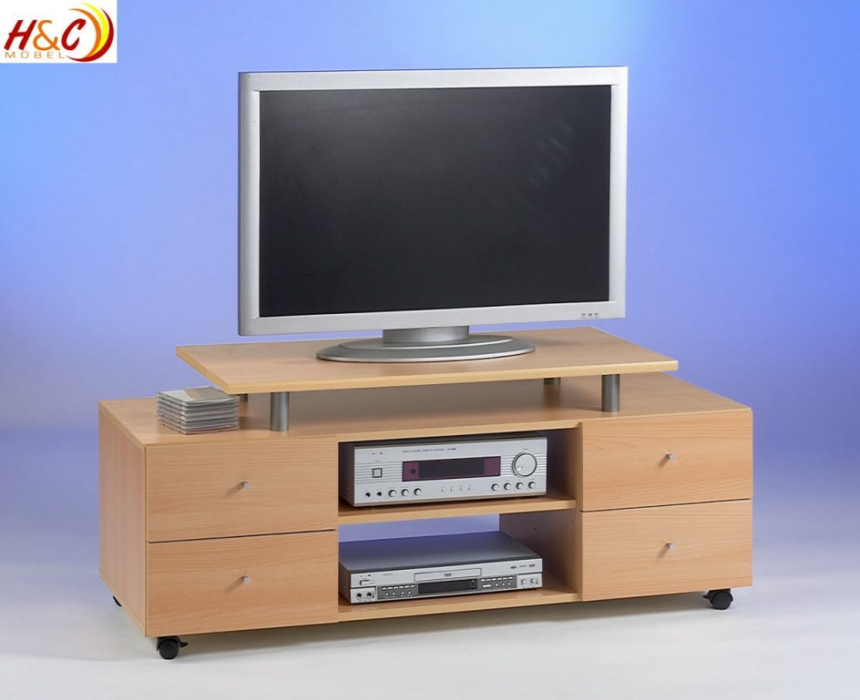 tv schrank ablage regal lcd kommode mod tv617 buche ebay. Black Bedroom Furniture Sets. Home Design Ideas