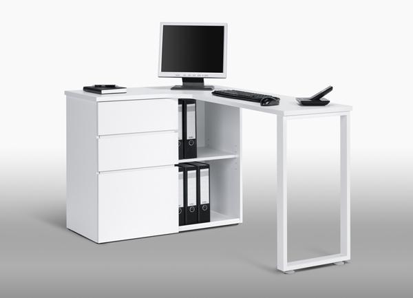 Eckcomputertisch eckschreibtisch schreibtisch mod 3ko wei for Schreibtisch platzsparend