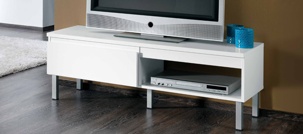 tv hifi lcd regal ablage lowboard mod tv627 weiss hochglanz ebay. Black Bedroom Furniture Sets. Home Design Ideas