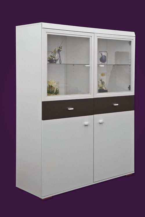 vitrine schrank vitrinenschrank highboard mod v739 weiss anthrazit ebay. Black Bedroom Furniture Sets. Home Design Ideas